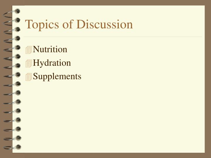 topics of discussion n.