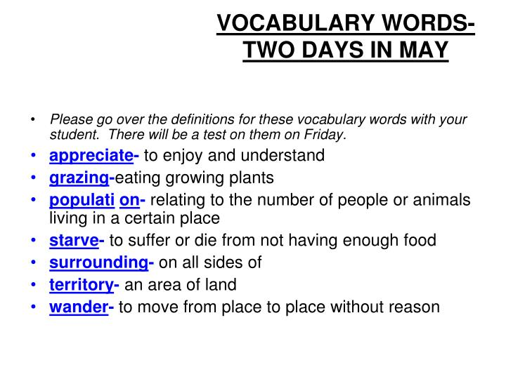 vocabulary words two days in may n.