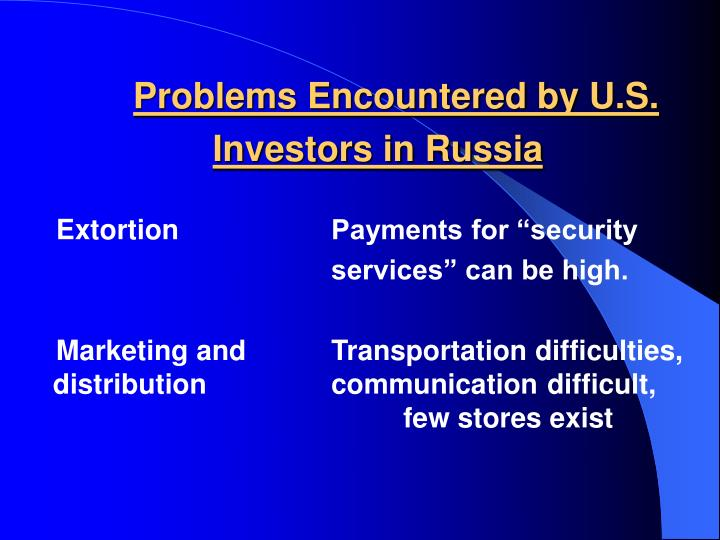 Problems Encountered by U.S.