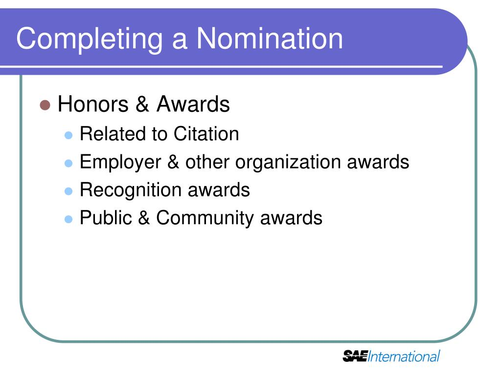 Completing a Nomination