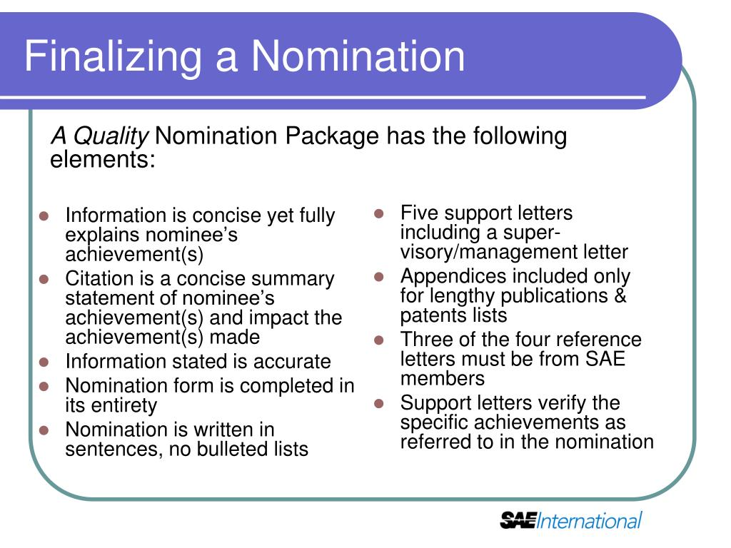 Information is concise yet fully explains nominee's achievement(s)