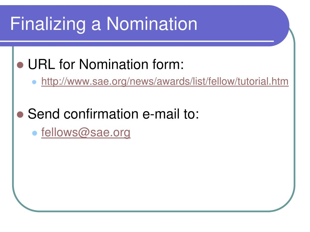 Finalizing a Nomination