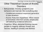 other theoretical causes of anxiety disorders1