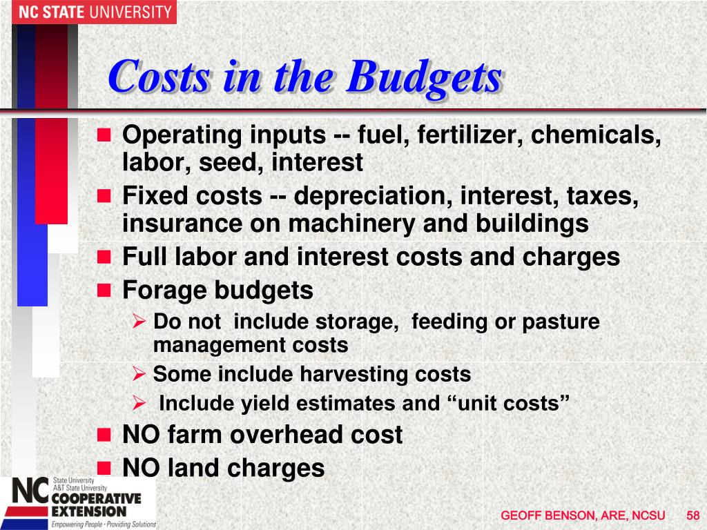 Costs in the Budgets