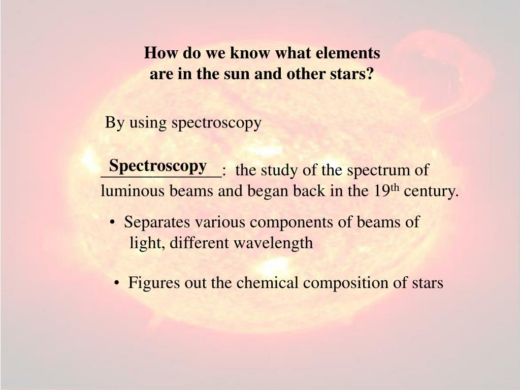 How do we know what elements are in the sun and other stars?