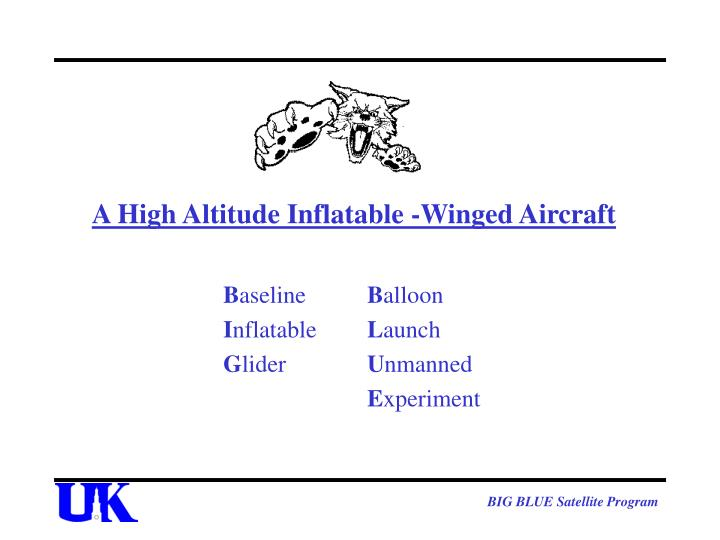 a high altitude inflatable winged aircraft n.
