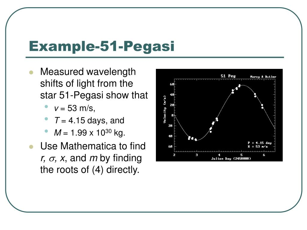 Measured wavelength shifts of light from the star 51-Pegasi show that