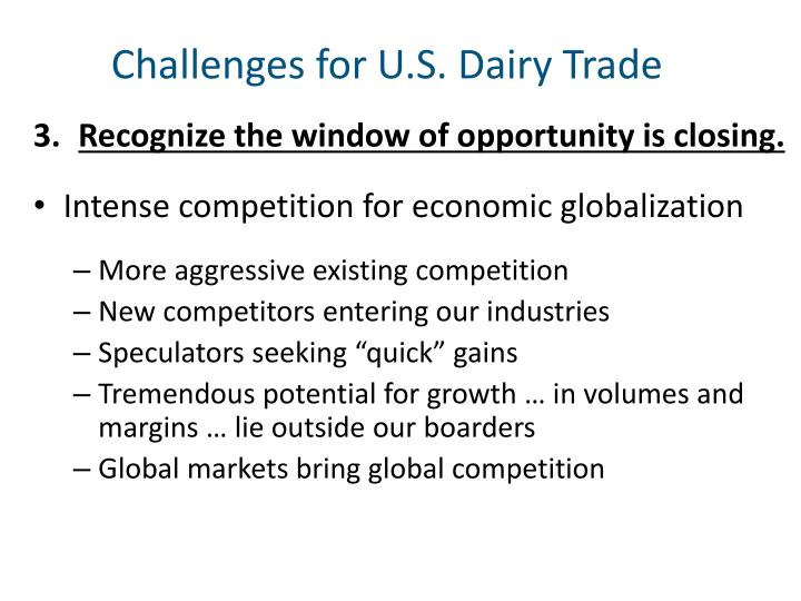 Challenges for U.S. Dairy Trade