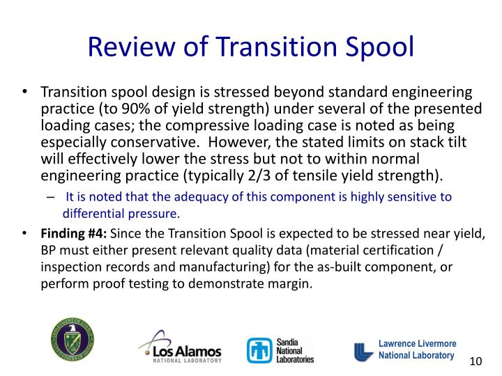 Review of Transition Spool