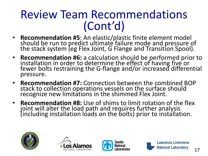 Review Team Recommendations (Cont'd)
