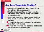 are you financially healthy
