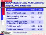 beef production costs ncsu enterprise budgets 2008 head sold