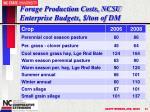 forage production costs ncsu enterprise budgets ton of dm