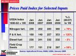 prices paid index for selected inputs