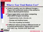 what is your total ration cost
