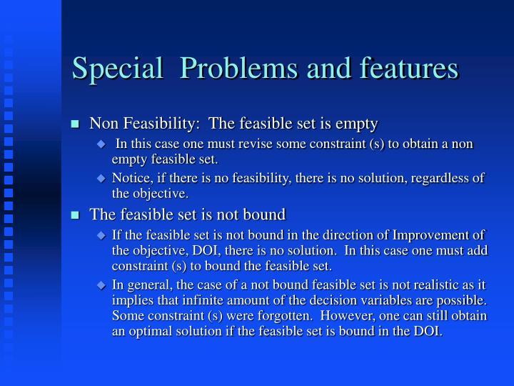Special  Problems and features