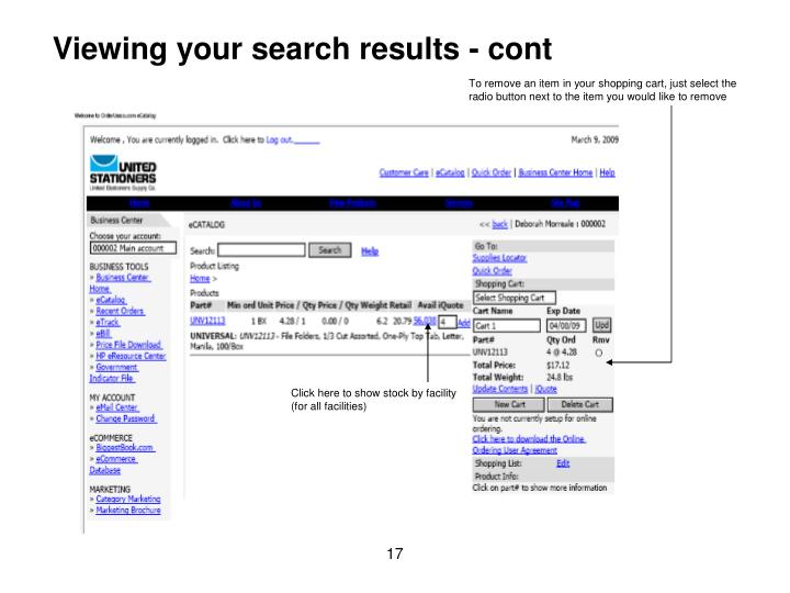 Viewing your search results - cont