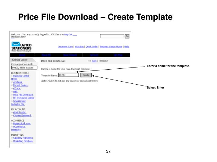 Price File Download – Create Template