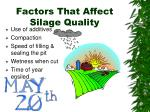 factors that affect silage quality