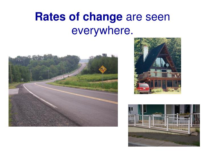 Rates of change are seen everywhere