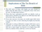 implications of the tax benefit of debt