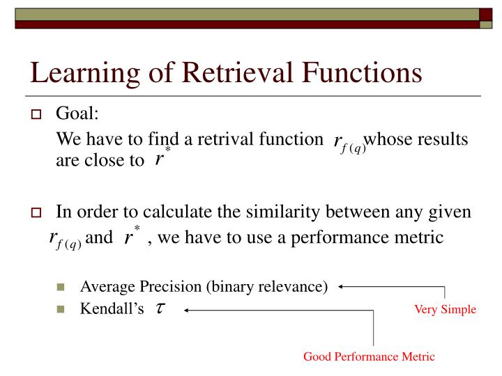 Learning of Retrieval Functions