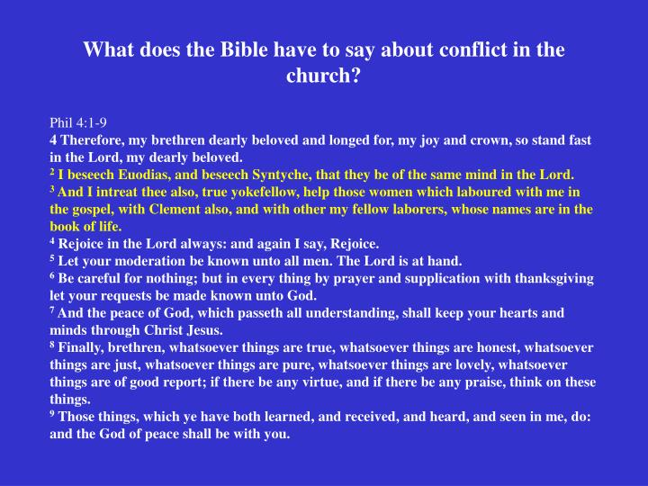 What does the Bible have to say about conflict in the church?