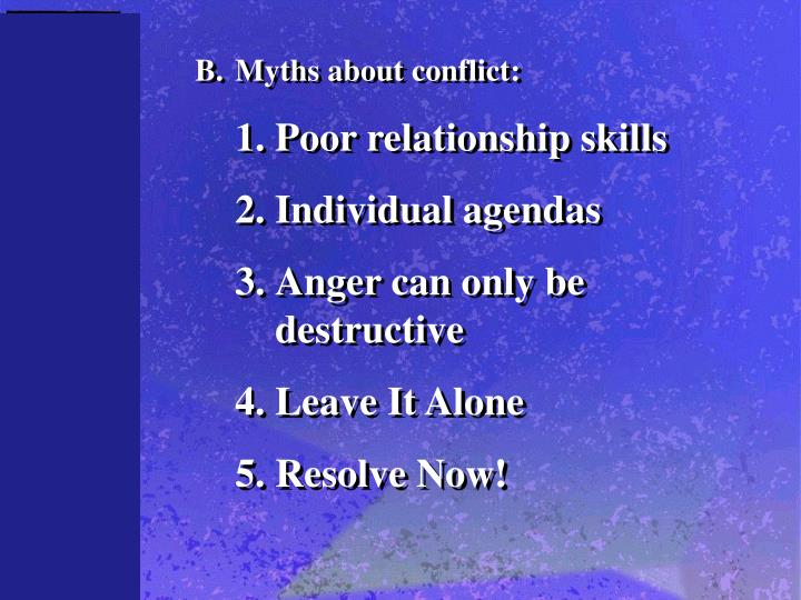 B.	Myths about conflict: