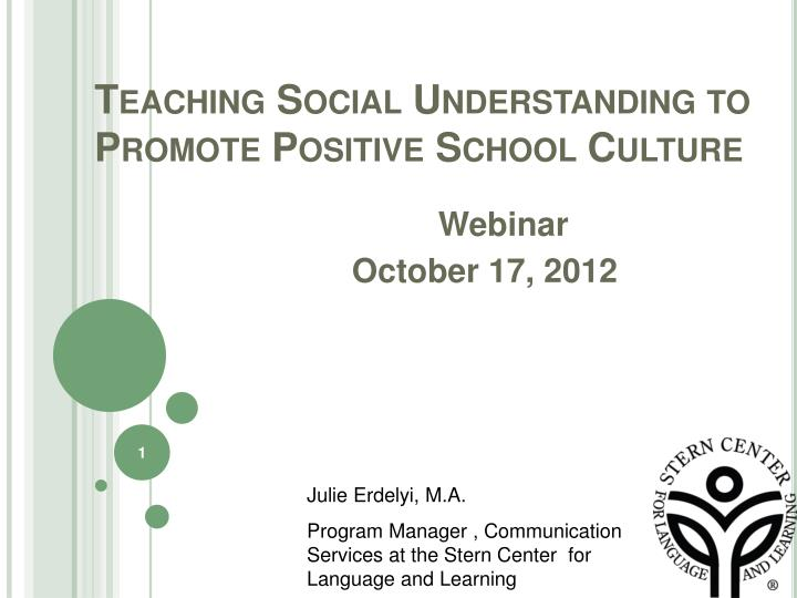 teaching social understanding to promote positive school culture n.