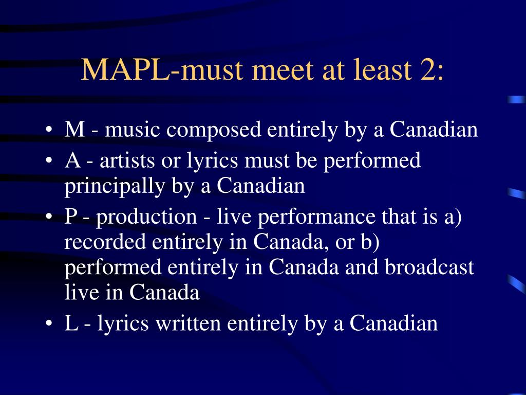 MAPL-must meet at least 2: