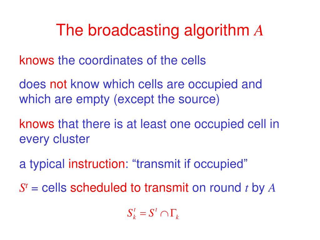 The broadcasting algorithm