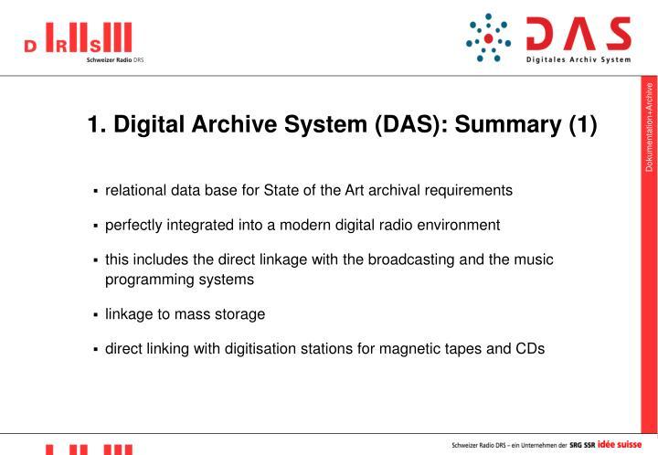 1 digital archive system das summary 1