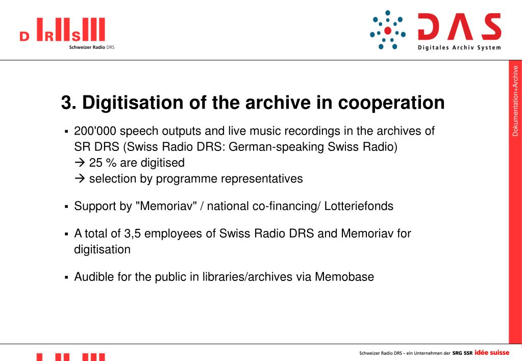 3. Digitisation of the archive in cooperation