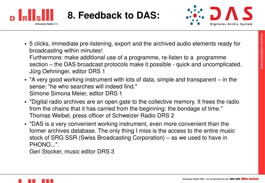 8. Feedback to DAS: