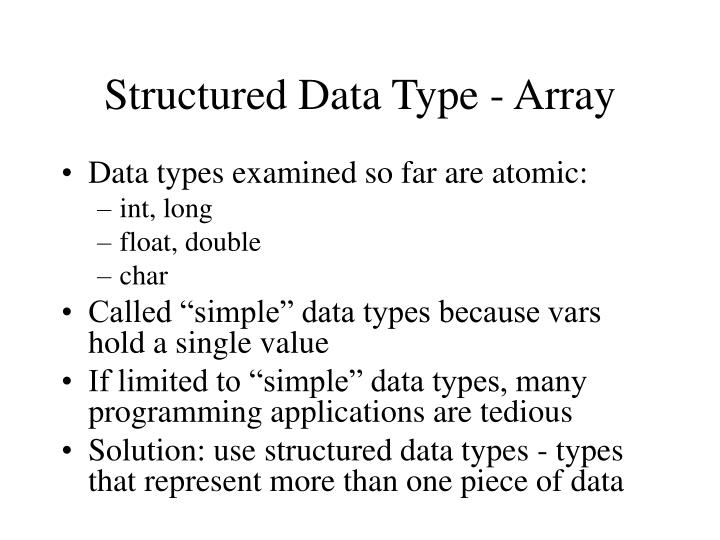structured data type array n.