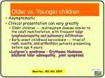 older vs younger children