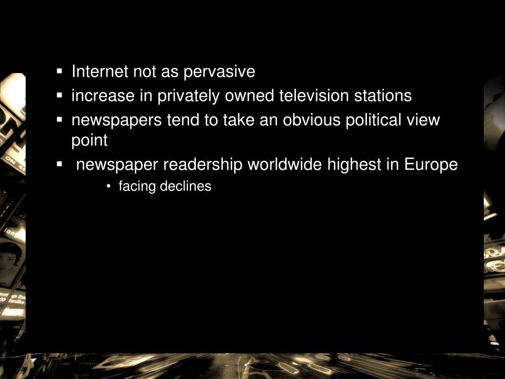 Internet not as pervasive
