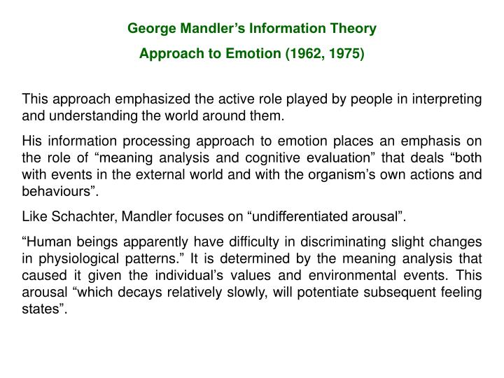 George Mandler's Information Theory