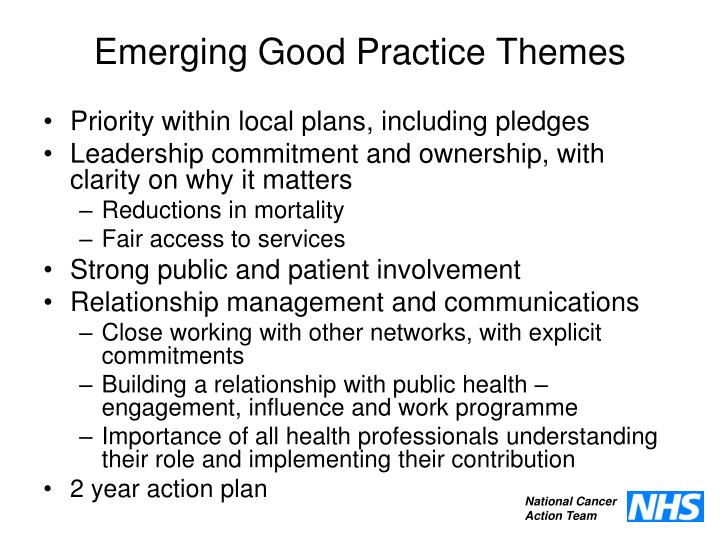 Emerging Good Practice Themes