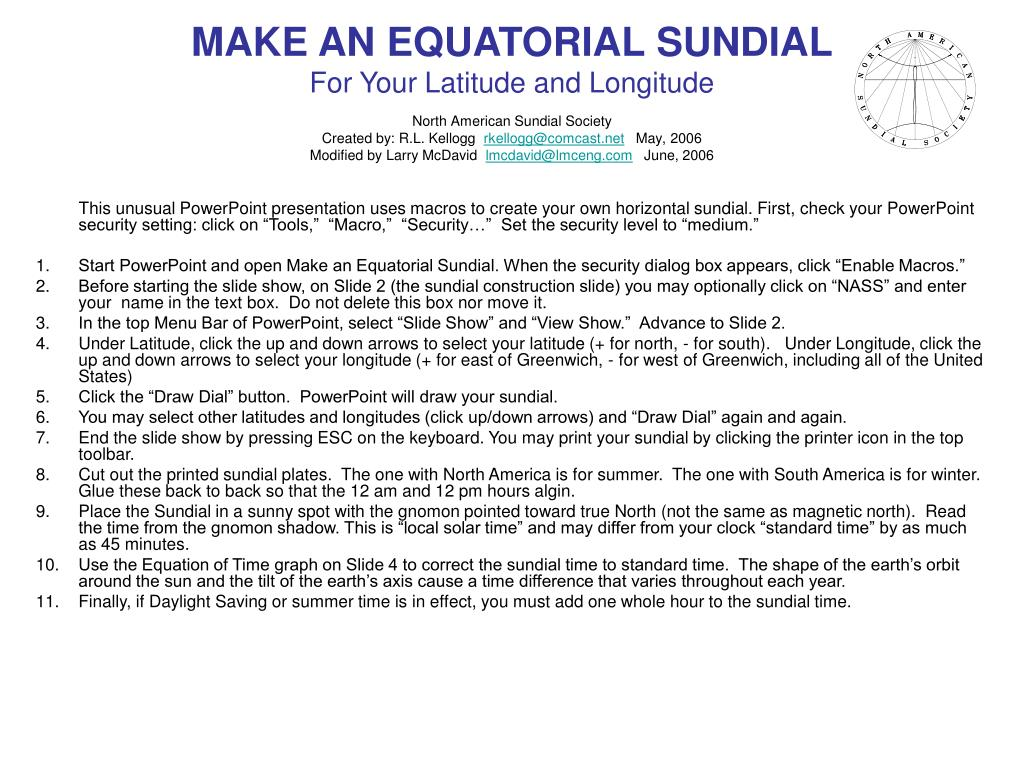 Ppt Make An Equatorial Sundial For Your Latitude And Longitude