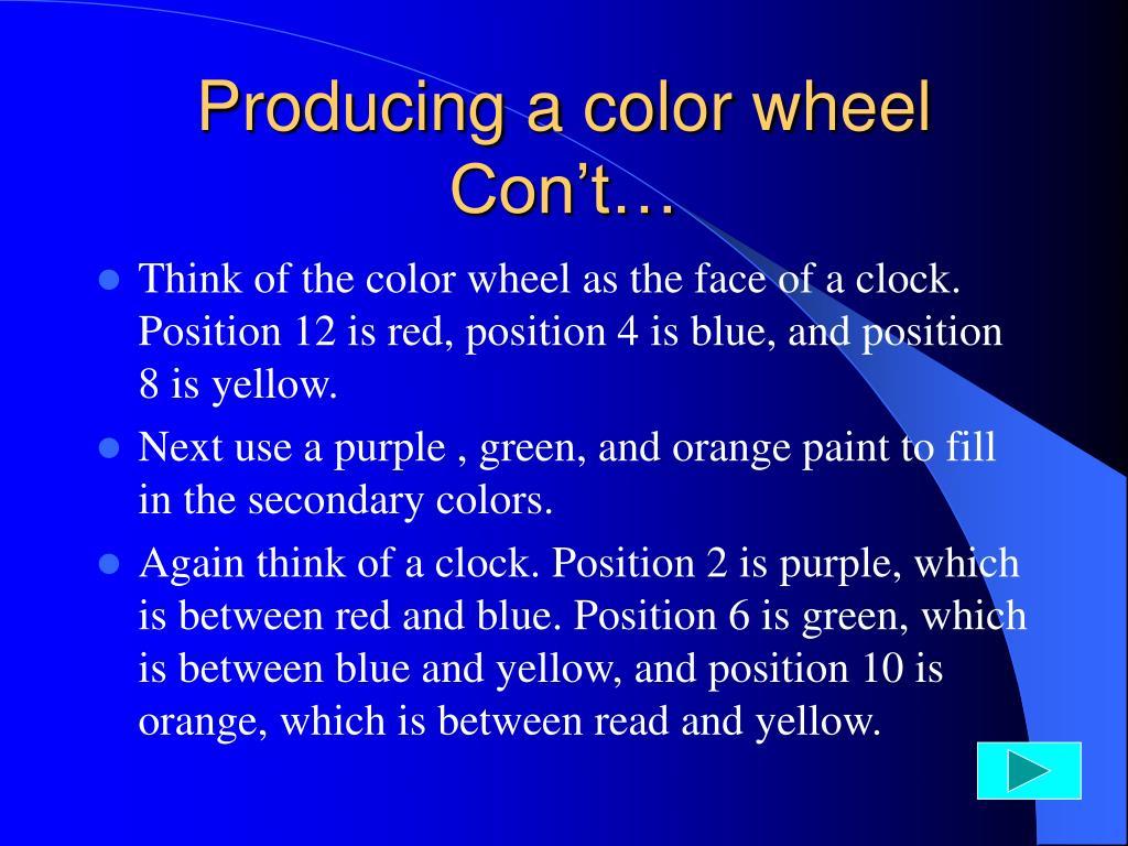 Producing a color wheel Con't…