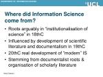 where did information science come from