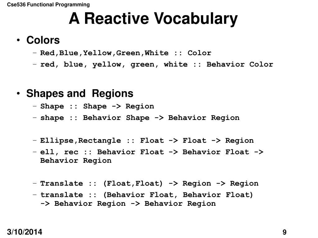 A Reactive Vocabulary