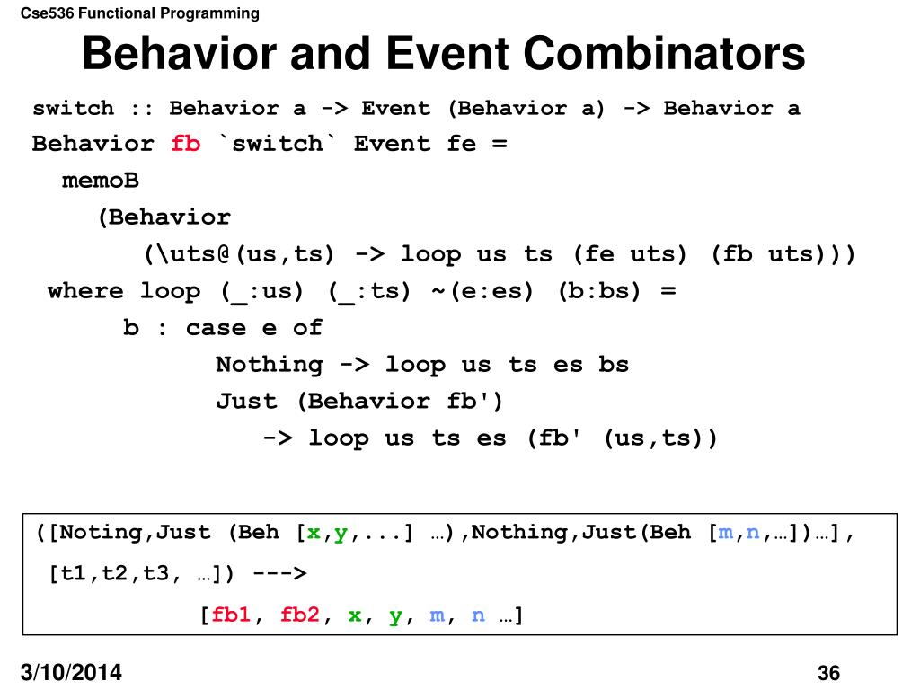 Behavior and Event Combinators