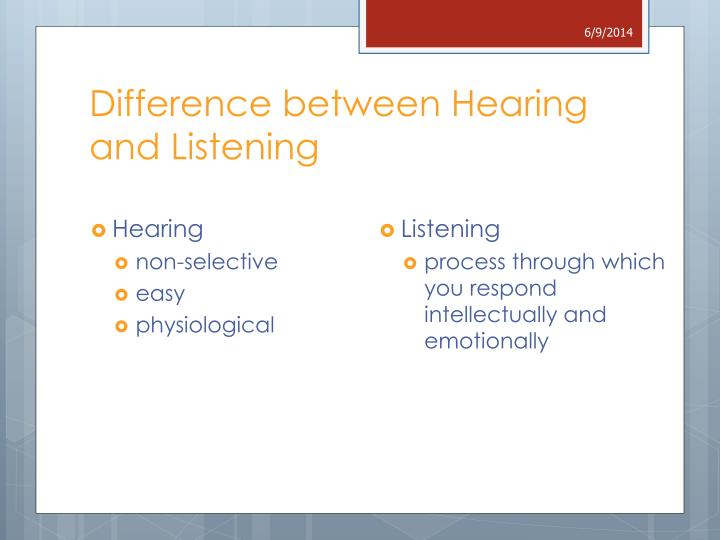 differences between listening and hearing in communication What is the similarity between listening and hearing listener understand that communication is a two-way is the differences between hearing vs listening.