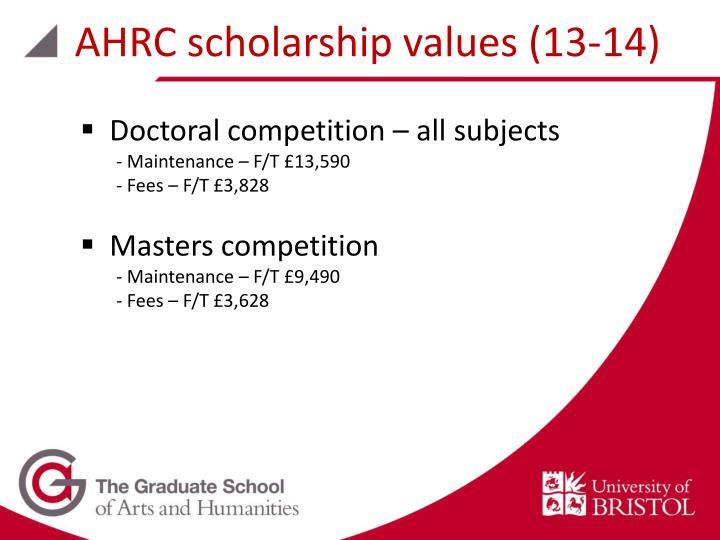 AHRC scholarship values (13-14)