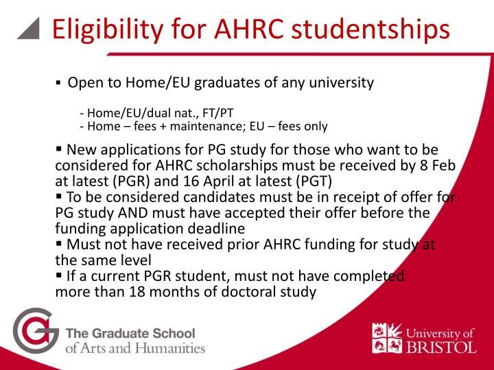 Eligibility for AHRC studentships