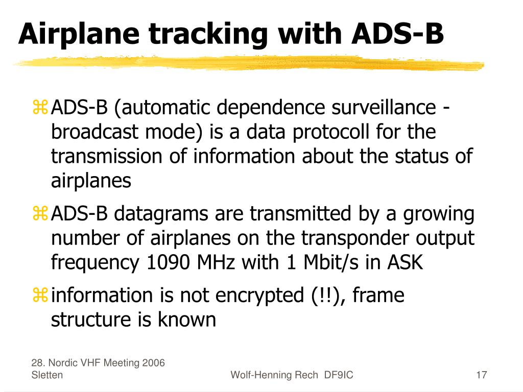 Airplane tracking with ADS-B