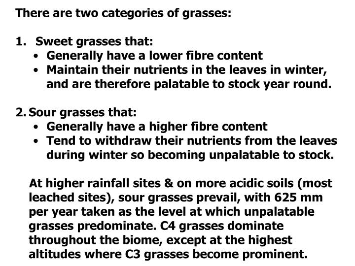 There are two categories of grasses: