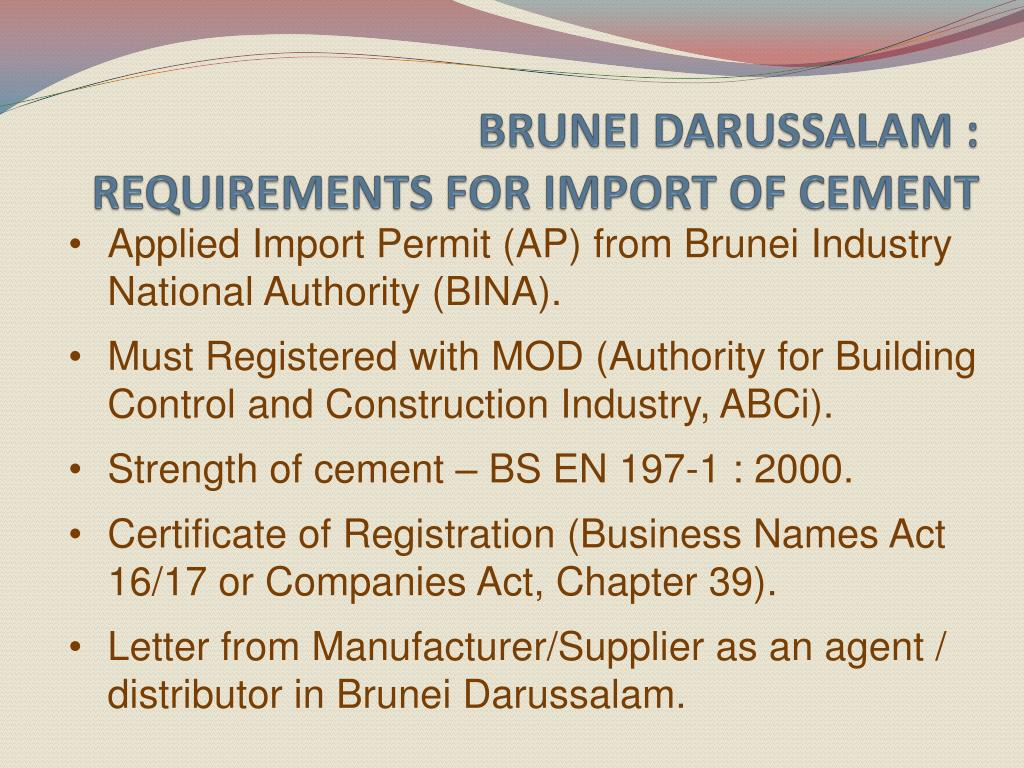 brunei darussalam requirements for import of cement l.